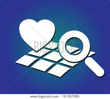 heart, map and magnifying glass symbols on blue background like searching concept abstract vector illustration