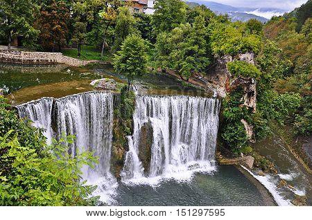 Waterfalls in city Jajce, Bosnia and Herzegovina