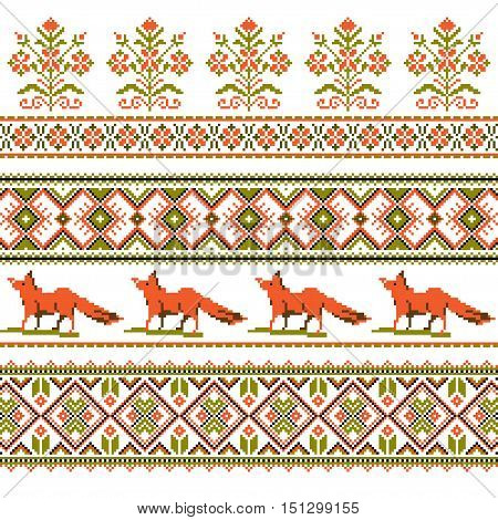 Set of Ethnic holiday ornament pattern in different colors. Vector illustration. From collection of Balto-Slavic ornaments