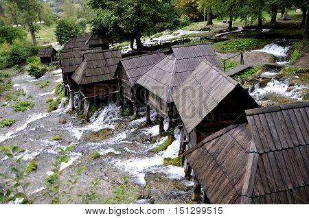Old wooden water mills, Jajce in Bosnia and Herzegovina