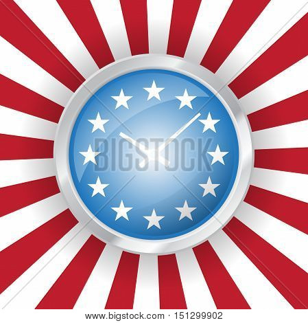 Vector clock face in colors of american flag. Vote USA presidential election badge