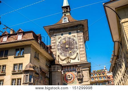 View on Zytglogge the astronomical clock tower in the old town of Switzerland
