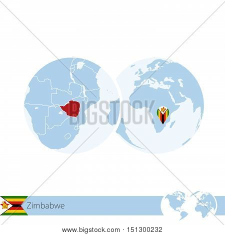 Zimbabwe On World Globe With Flag And Regional Map Of Zimbabwe.