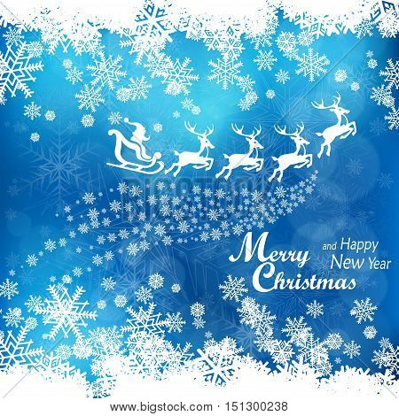 Santa Claus driving sledge in blue. New Year design elements winter holiday banner vector illustration