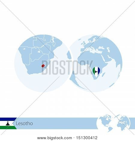 Lesotho On World Globe With Flag And Regional Map Of Lesotho.