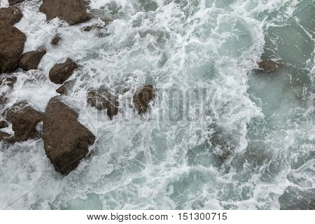 Breaking waves in Biarritz, French Basque Country, France.