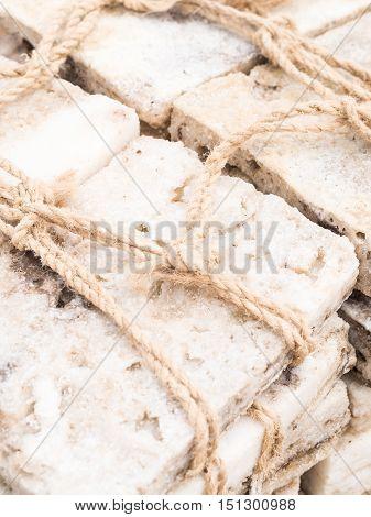 Blocks of salt mined on salt flat in Danakil Depression Afar Region Ethiopia. Close up.