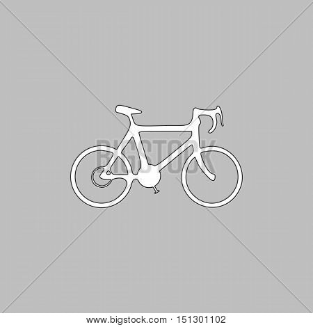 Bicycle Simple line vector button. Thin line illustration icon. White outline symbol on grey background