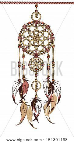Indian dream catcher amulet with the rope feathers and beads on a white background