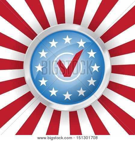 Vote USA presidential election badge in colors of american flag