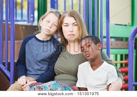 Single Mom With Sons Outside