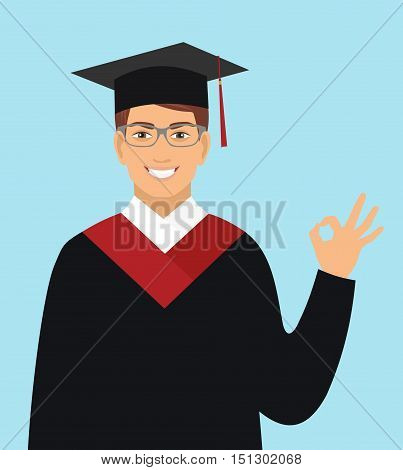 Boy graduates in the mantle.Vector illustration in flat design.