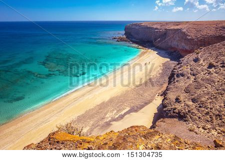 Sandy Beach With Vulcanic Mountains On Fuerteventura Island, Canary Islands, Spain.
