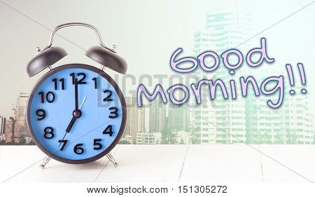 Good Morning Blue Clock with City backgorund