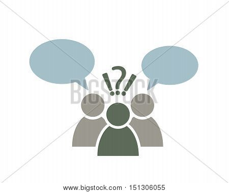 people symbol with speech bubbles, question, exclamation mark decision making abstract vector icon illustration