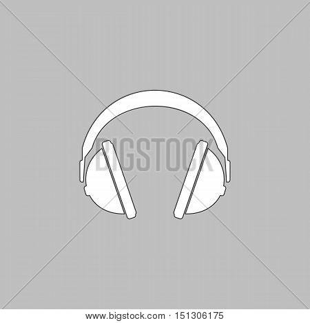 headphone Simple line vector button. Thin line illustration icon. White outline symbol on grey background