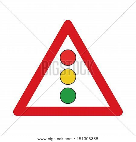 Traffic sign confrontation on traffic lights. Vector illustration.