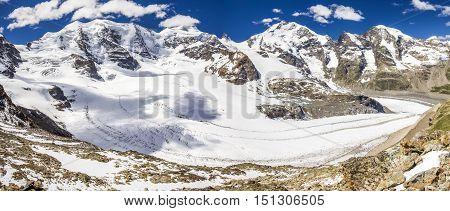 View To Bernina Massive And Morteratsch Glacier From Diavolezza Mountain, Canton Graubunden. Diavole