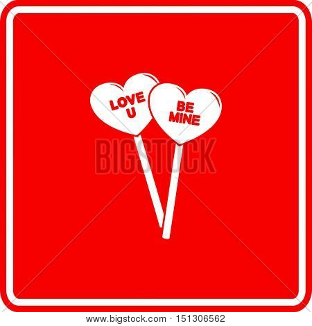 valentines heart shaped lollipops with written messages sign