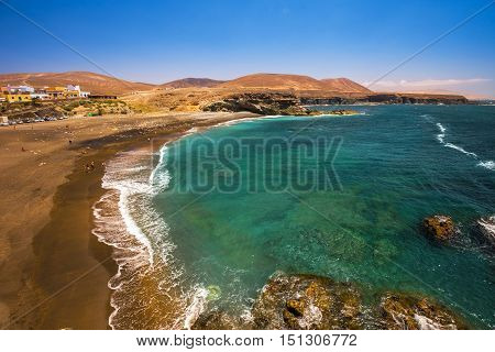 View To Ajuy Beach With Vulcanic Mountains On Fuerteventura Island, Canary Islands, Spain.