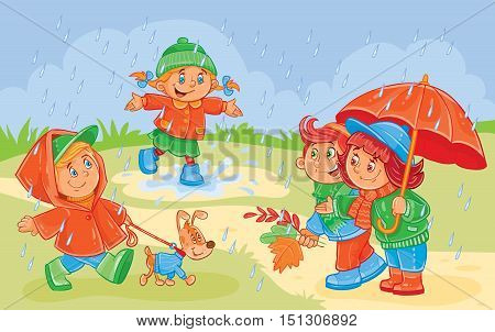 Vector illustration of young children playing under the autumn rain