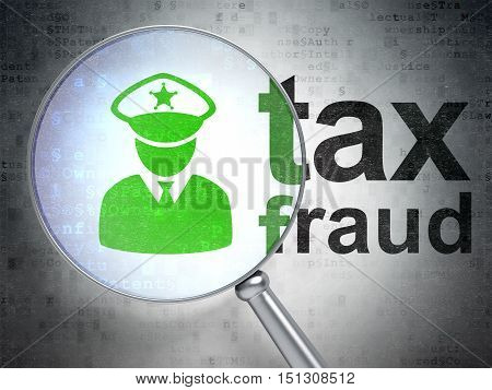 Law concept: magnifying optical glass with Police icon and Tax Fraud word on digital background, 3D rendering