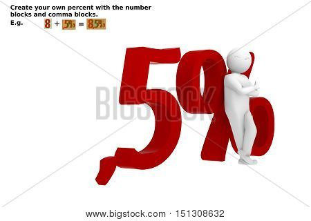 3d Rendering Illustration comma five percent with man - Buy now the number set you need und past them together to create your own illustration.