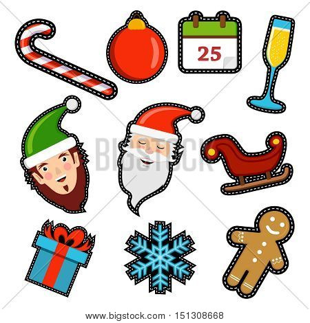 Christmas Icon Patch Set Of Holiday Decoration