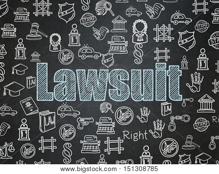 Law concept: Chalk Blue text Lawsuit on School board background with  Hand Drawn Law Icons, School Board