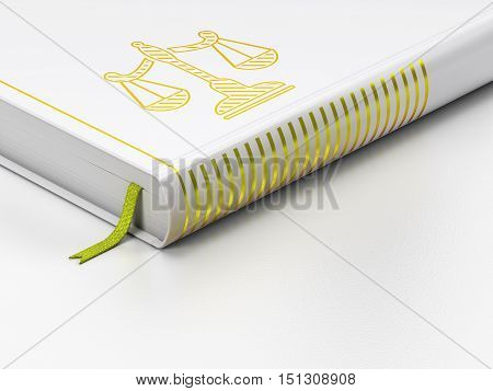 Law concept: closed book with Gold Scales icon on floor, white background, 3D rendering