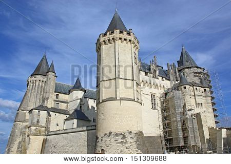 Towers of Saumur castle in the Loire,France