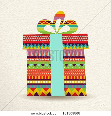 Christmas Gift Box Illustration In Fun Colors