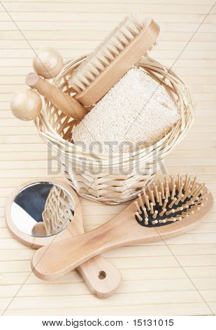 Bath Accessories On The Bamboo Mat
