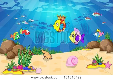 animal, background, blue, cartoon, climate, color, colored, coral, deep, diving, fin, fish, group, horizontal, illustration, image, large, leaf, life, multi, nature, nautical, nobody, painting, plant, reef, saltwater, school, sea, sea-horse, seascape, sea