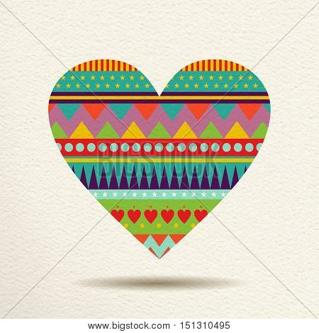 Colorful Heart Design In Fun Geometric Shape Style