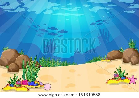 Tropical underwater sea life - coral reef with fish on a blue sea background. Vector illustration.