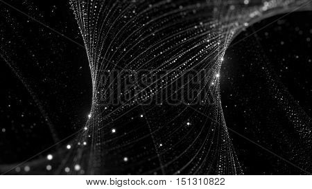 3D Rendering Background With Twisted Particle Strings.