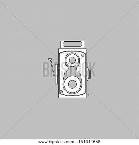 Cinema camera Simple line vector button. Thin line illustration icon. White outline symbol on grey background