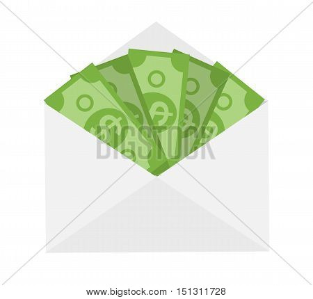 US Dollar Stack Paper Banknotes in Envelope  Icon Sign Business Finance Money Concept Vector Illustration EPS10