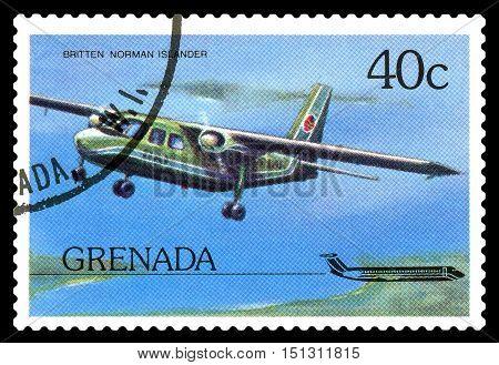 STAVROPOL RUSSIA - October 10 2016: a stamp printed in Grenada shows plane Britten-Norman Islander 1970 circa 1976.