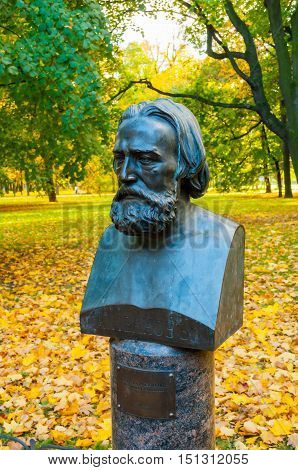 ST PETERSBURG RUSSIA - OCTOBER 3 2016. Bust of famous Russian artist Alexander Ivanov in Mikhailovsky Garden in St Petersburg Russia. He painted canvases of biblical and mythological stories