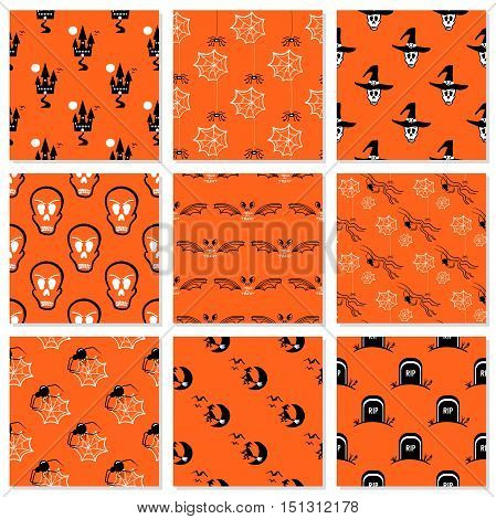 Collection of seamless patterns made from hand drawn halloween symbols. Vector illustration. Can be used for wrapping or wallpaper or in textile.