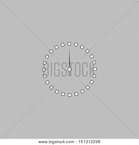 dial clock Simple line vector button. Thin line illustration icon. White outline symbol on grey background