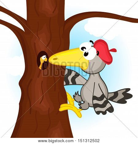 woodpecker on tree - vector  illustration, eps