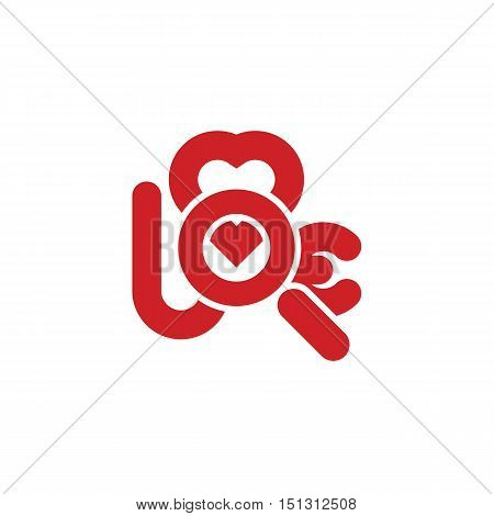 magnifying glass as letter o of word love with heart symbol searching for love icon abstract vector illustration