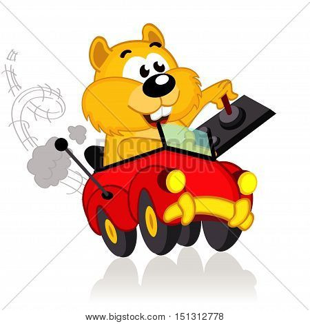 hamster on a radio-controlled car - vector illustration, eps