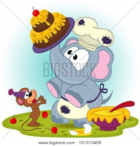 elephant chef prepare cake for mouse - vector  illustration, eps