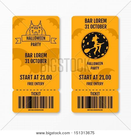 Set of halloween ticket on holiday party with castle church graves bats moon witch on a broomstick isolated. Flyer template design. Club event admission or entrance ticket layout. Vector illustration.