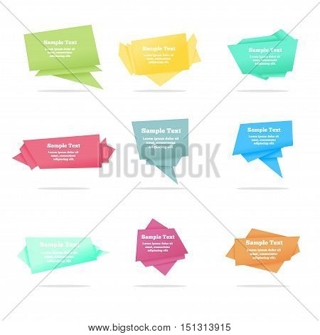 Colllection of quote vector abstract geometric origami speech bubbles background and place for message