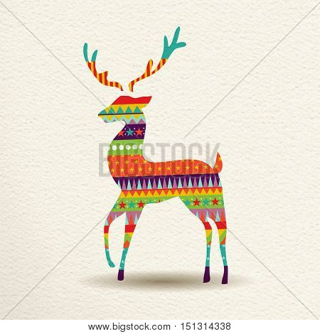 Christmas Reindeer In Fun Geometric Art Style